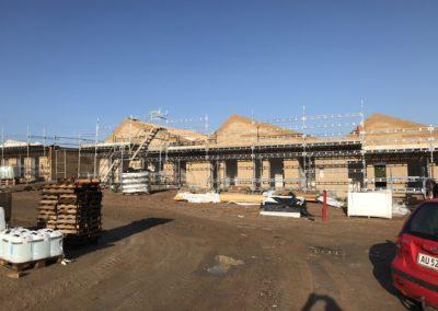 byggeplads i silkeborg, specialfabrikken, stillads opsætning