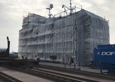 Dækket stillads på thyborøn, specialfabrikken